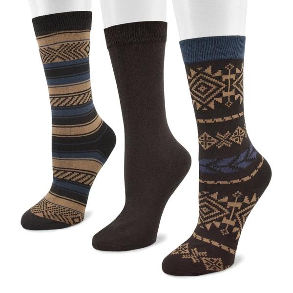 Muk Luks Women's Southwest Pack Crew Socks (3 Pairs)