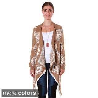 Hadari's Women's Tribal Print Waterfall Cardigan