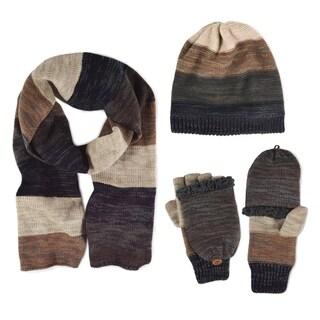 Muk Luks Men's Ombre Knit Scarf, Beanie, and Flip Mittens Set