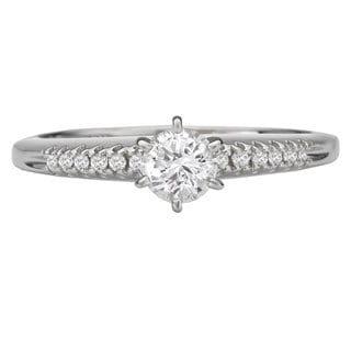 Avanti 14k White Gold 3/8ct TDW Round Diamond Engagement Ring (G-H, SI1-SI2)