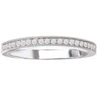Avanti 14k White Gold 1/8ct TDW Diamond Milgrain Detail Wedding Band (G-H, SI1-SI2)