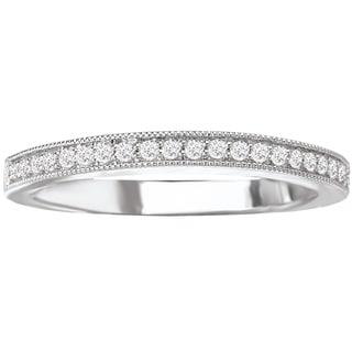 14k White Gold 1/8ct TDW Diamond Milgrain Detail Wedding Band (G-H, SI1-SI2)