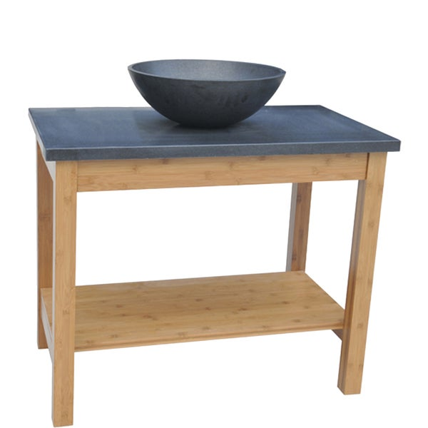 Natural Bamboo 34-inch Wide Single Sink Bathroom Vanity