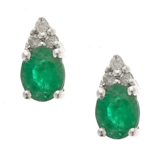 D'yach 10K White Gold Emerald with Diamond Fashion Earrings