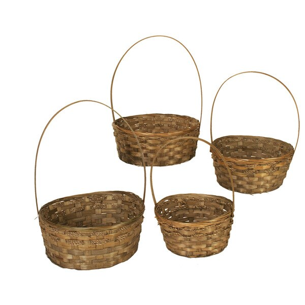 Dark Stained Bamboo Baskets (Set of 4)