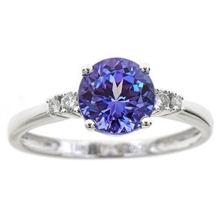 Anika and August 18k White Gold Round-cut Tanzanite and Diamond Accent Ring