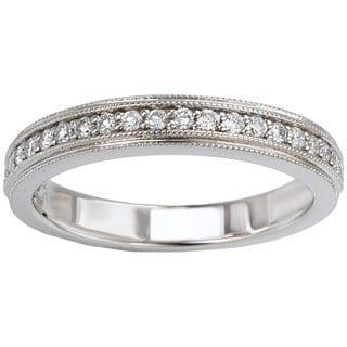 14k White Gold 1/5ct TDW Double Milgrain Edge Diamond Wedding Band (G-H, SI1-SI2)
