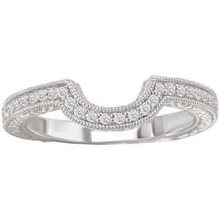 Avanti 14k White Gold 1/7ct TDW Curved Matching Diamond Wedding Band (G-H, SI1-SI2)