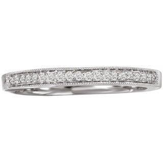 14k White Gold 1/10ct TDW Vintage Milgrain Diamond Wedding Band (G-H, SI1-SI2)