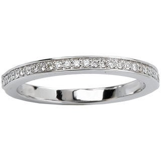 Avanti 14k White Gold 1/8ct TDW Smooth Edge Prong Set Diamond Wedding Band (G-H, SI1-SI2)