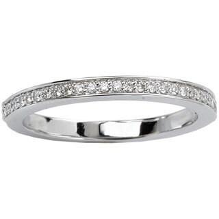 14k White Gold 1/8ct TDW Smooth Edge Prong Set Diamond Wedding Band (G-H, SI1-SI2)