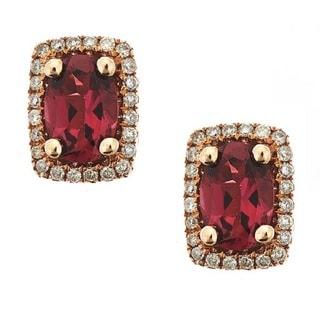D'yach 14K Rose Gold Rubelite with Diamond Fashion Earrings