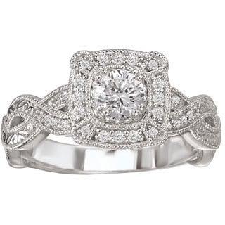 Avanti 14k White Gold 1/2ct TDW Vintage-style Diamond Engagement Ring (G-H, SI1-SI2)