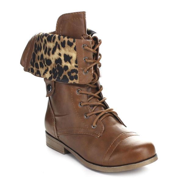BUMPER FREDA45I Women's Lace Up Cognac Military Mid Calf Boot