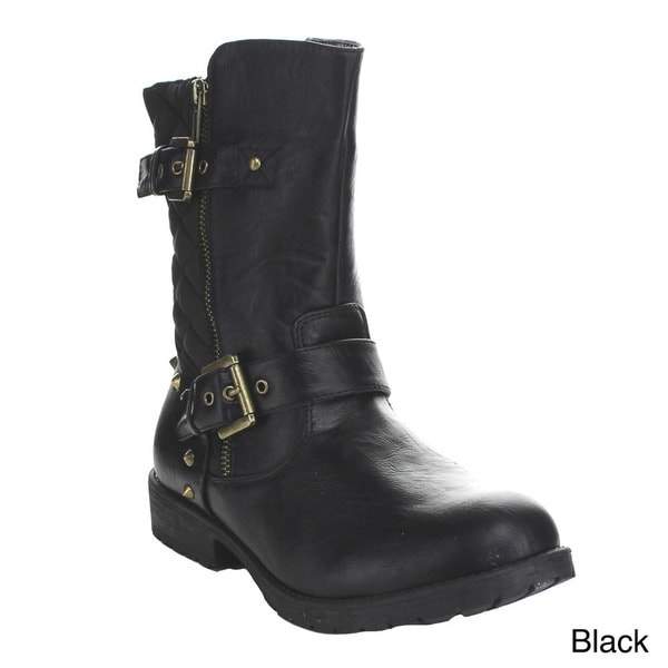 BUMPER GLORIA33 Women's Buckle Strap Stud Quilted Mid Calf Boot