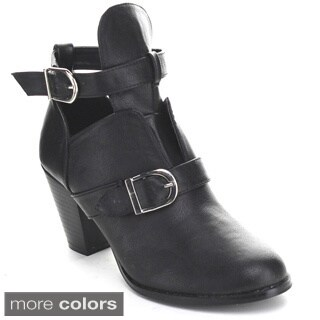 BUMPER TEE55 Women's Cut Out Buckle Ankle Strap Booties