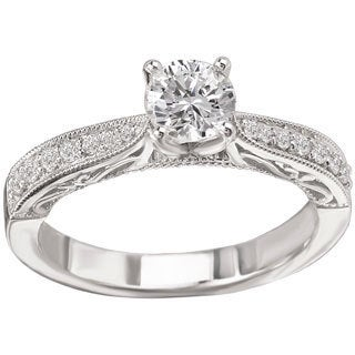 Avanti 14k White Gold 5/8ct TDW Migrain and Scroll Detail Diamond Ring (G-H, SI1-SI2)