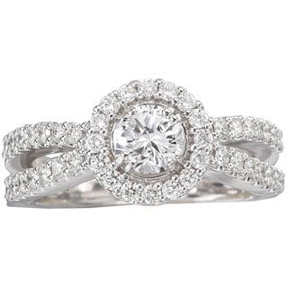 Avanti 14k White Gold 1 1/10ct TDW Round Halo Diamond Engagement Ring (G-H, SI1-SI2)