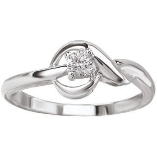 Avanti 14k White Gold 1/10ct TDW Love Knot Diamond Engagement Ring (G-H, SI1-SI2)