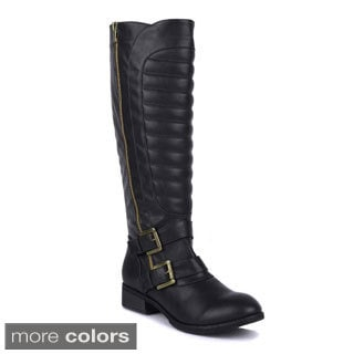 Fahrenheit Women's 'Paris-02' Channel Stitched Quilted Moto Boot