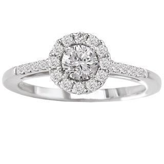 Avanti 14k White Gold 1/2ct TDW Round Halo Diamond Engagement Ring (G-H, SI1-SI2)