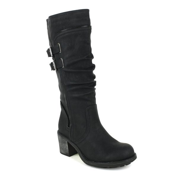 Fahrenheit Women's 'Nancy-04' Zipper Stitched Chunky Heel Knee High Moto Boot