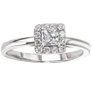 Avanti 14k White Gold 1/2ct TDW Simple Square Halo Princess-cut Engagement Ring (G-H, SI1-SI2)
