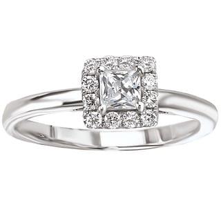 Avanti 14k White Gold 1/2ct TDW Simple Square Halo Princess-cut Engagement Ring (G-H, SI1-SI2)