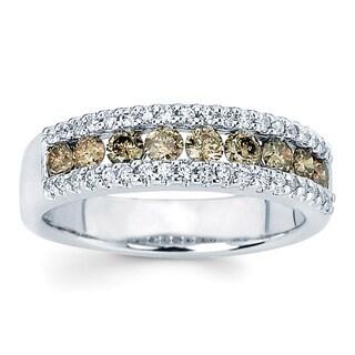 Boston Bay Diamonds 14k White Gold 4/5ct TDW Brown and White Diamond Three-row Ring (I-J, I1-I2)