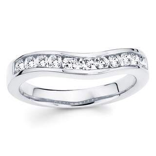 14k White Gold 3/4ct TDW Diamond Contour Wedding Band (I-J, I1-I2)