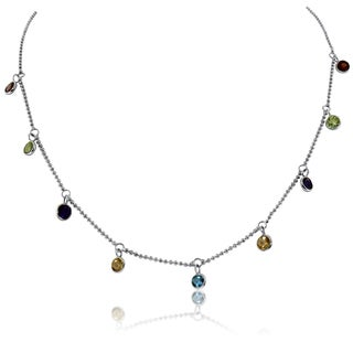 Gioelli Sterling Silver Round Dangle Gemstone Necklace
