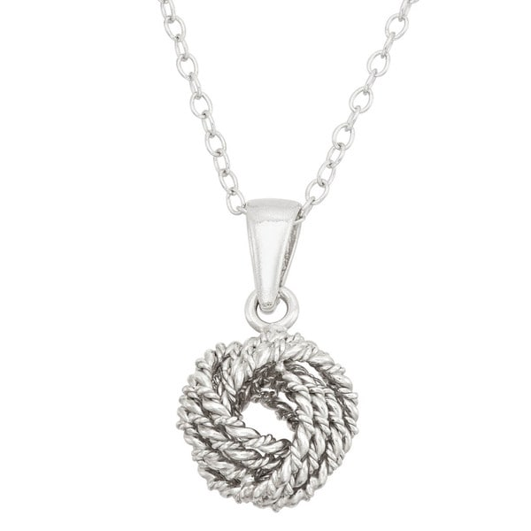 Gioelli Sterling Silver Classic Rope Love Knot Pendant Necklace