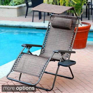 Oversized Brown/ Black Zero Gravity Sunshade Chair with Drink Tray (Set of 2)