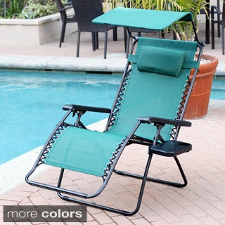 Oversized Multi-color Options Zero Gravity Sunshade Chair with Drink Tray (Set of 2)