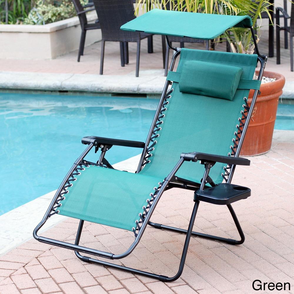 Oversized Zero Gravity Sunshade Chair with Drink Tray Set