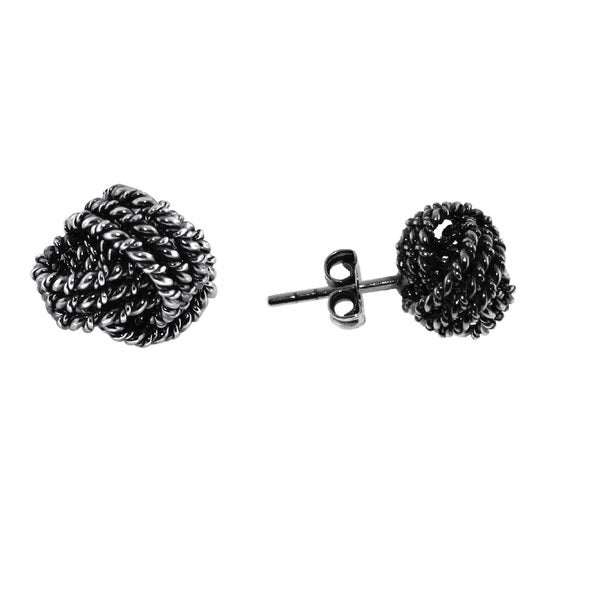 Gioelli Sterling Silver Classic Rope Love Knot Stud Earring