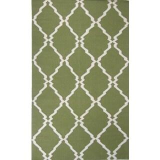 Flat Weave Green Hand Woven Rug (8' x 11')
