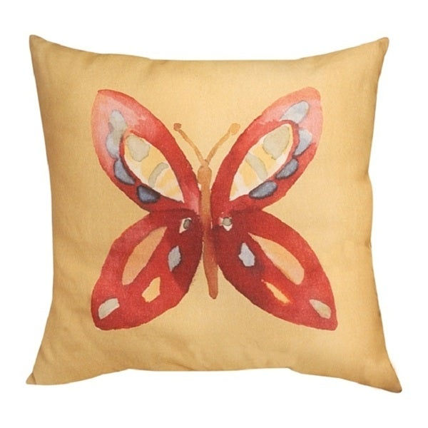 Butterfly Bliss Red 20-inch Throw Pillow