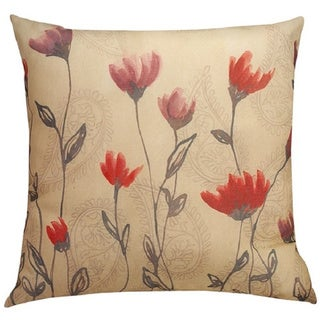 Paisley Poppies Indoor and Outdoor Throw Pillow