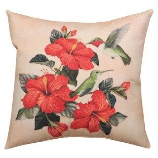 Hummingbird with Red Hibiscus 20-inch Throw Pillow