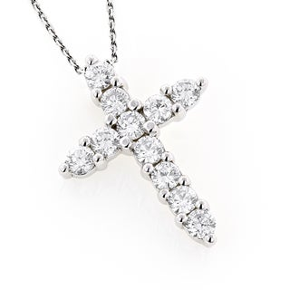 Luxurman 14k White Gold 1ct TDW Round Diamond Cross Pendant (G-H, VS1-VS2)
