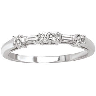 Avanti 14k White Gold 1/8ct TDW Round and Baguette Diamond Wedding Band (G-H, SI1-SI2)