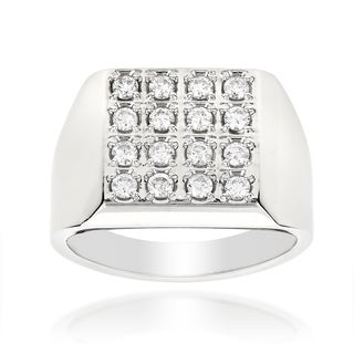 14k White Gold Men's 7/8ct TDW Square Shaped Round-cut Diamond Ring (H-I, SI1-SI2)