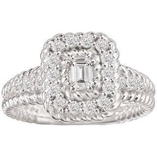 Avanti 14k White Gold 5/8ct TDW Emerald Shape Rope Design Detail and Baguette Center Diamond Ring (G-H, SI1
