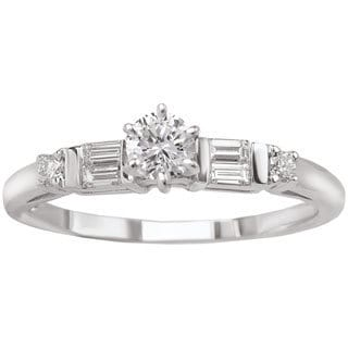 Avanti 14k White Gold 1/3ct TDW Round and Baguette Diamond Engagement Ring (G-H, SI1-SI2)