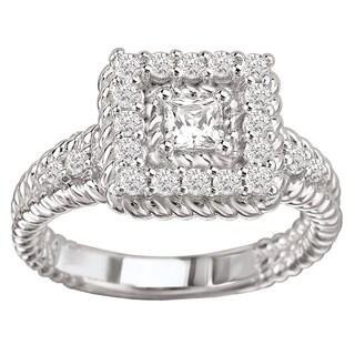 Avanti 14k White Gold 3/4ct TDW Princess-cut Rope Diamond Ring (G-H, SI1-SI2)