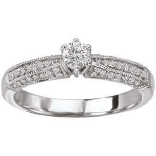 Avanti 14k White Gold 3/8ct TDW Milgrain Detailed Round Brilliant Diamond Ring (G-H, SI1-SI2)