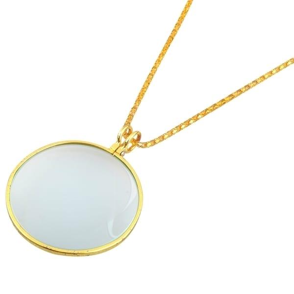 INSTEN Vintage Gold Necklace Pendant 5x Magnifier Circle Glass