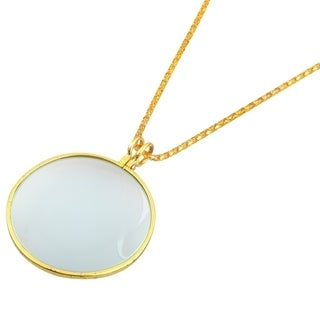 INSTEN Vintage Gold Necklace Pendant 5x Magnifier Circle Glass