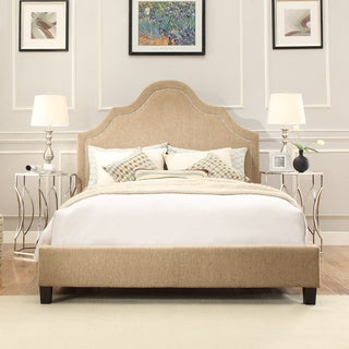 INSPIRE Q Fletcher Tan Chenille Nailhead Arch Curved Platform Bed